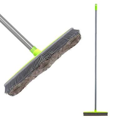 LandHope Push Broom Long Handle Rubber Bristles Sweeper