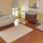 wood floor in a bathroom