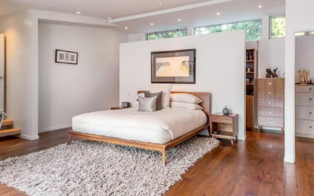 wooden floors in the bedroom